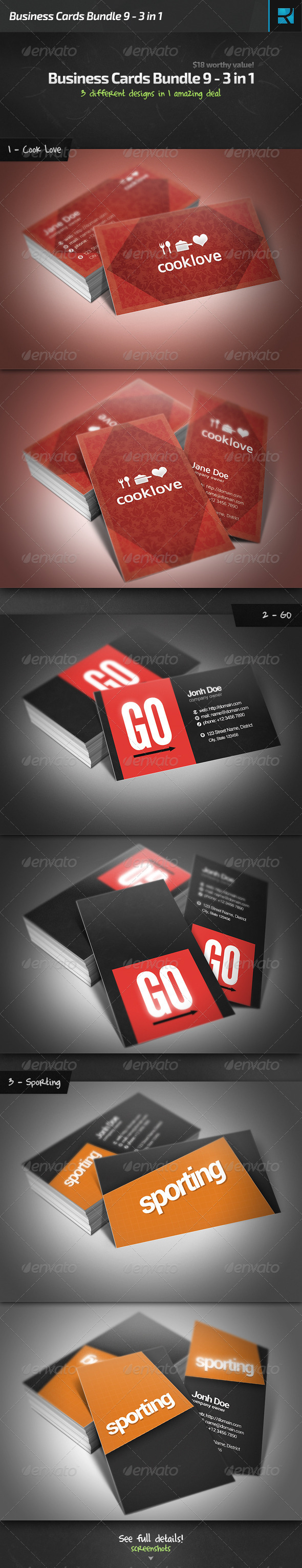 GraphicRiver Business Cards Bundle 9 3 in 1 6668709