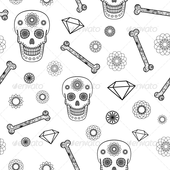 GraphicRiver Seamless Pattern with Skull 6668718