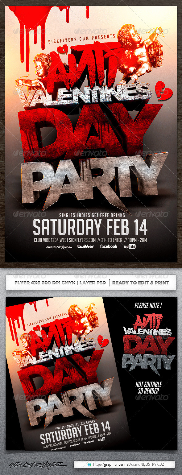 Anti Valentines Day Flyer Template - Holidays Events