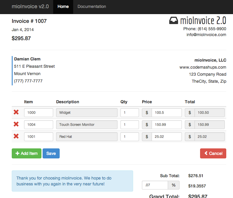 mioinvoice - php / jquery invoice module by viviosoft | codecanyon, Invoice examples