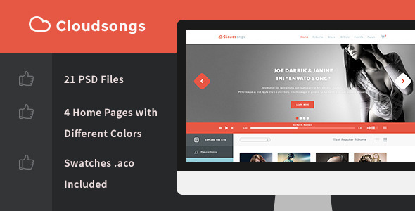 Cloudsongs Music E-Commerce Template