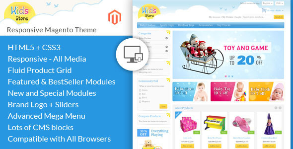 01 themepreview.  large preview - Kids Store - Magento Responsive Template