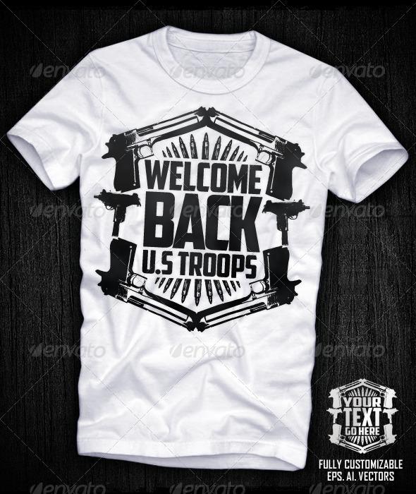 GraphicRiver Guns Shield Vector T-shirt Design 697923