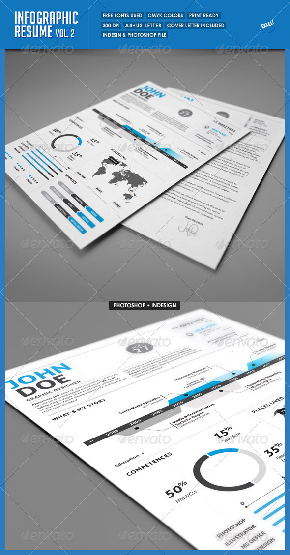 Clean Infographic Resume Vol 2  & Cover Letter - Resumes Stationery