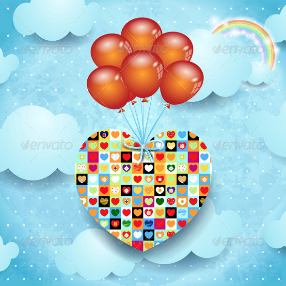 GraphicRiver Heart and Balloons on Sky Background 6670138