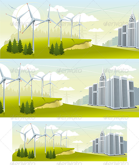 GraphicRiver Wind Turbine Park 6671269
