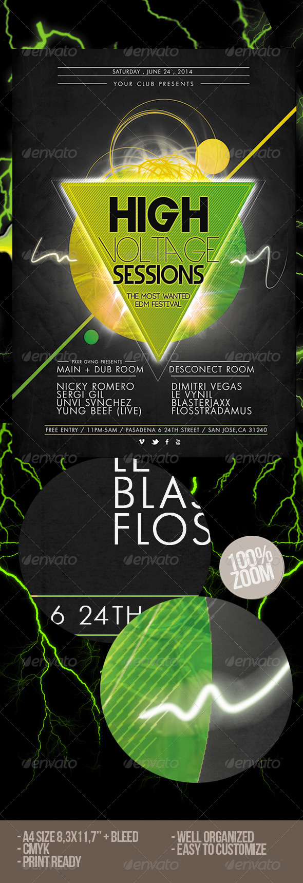 GraphicRiver High Voltage EDM Flyer 6671274