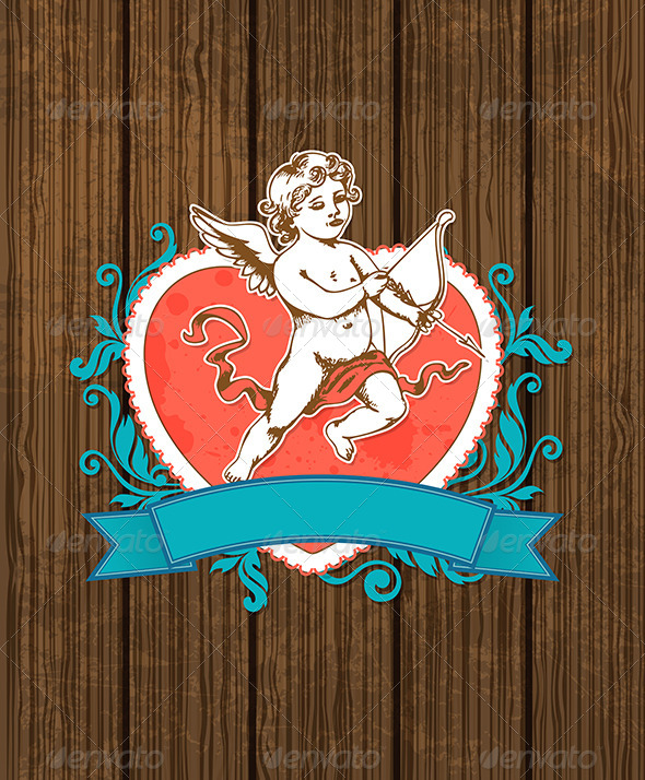 GraphicRiver Wooden Background with Red Heart 6671304