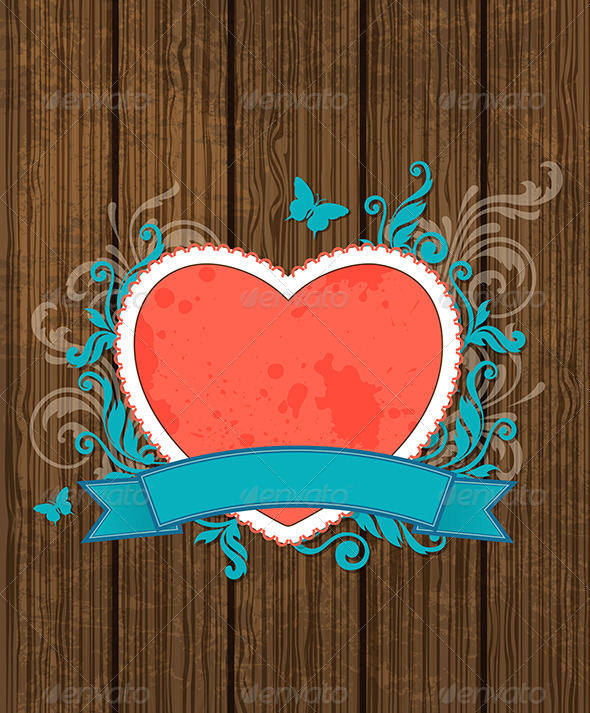 GraphicRiver Wooden Background with Red Heart 6671325