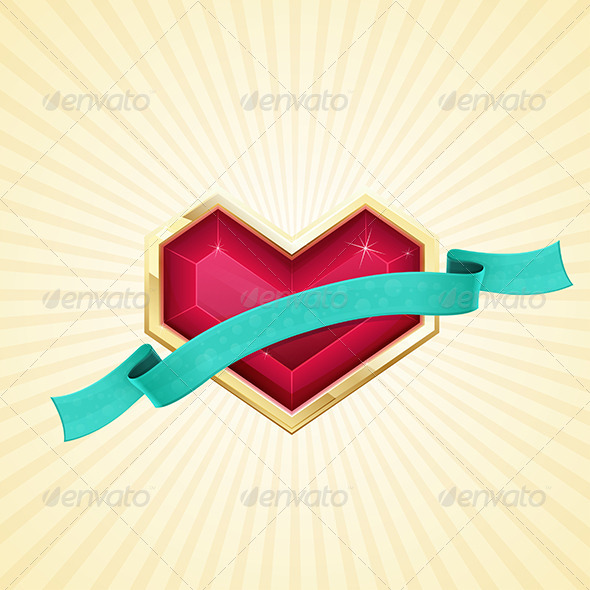 GraphicRiver Golden Heart and Ribbon 6671348