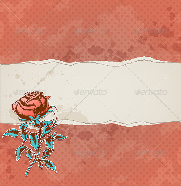 GraphicRiver Background with Torn Paper and Rose 6671384