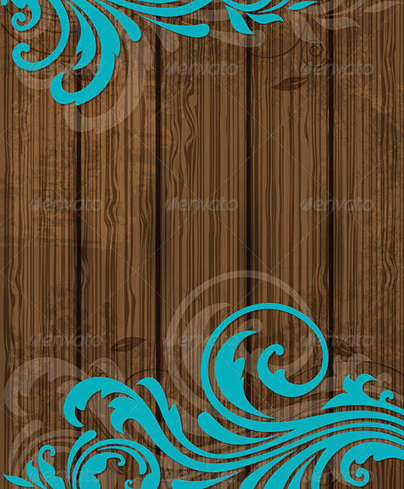 GraphicRiver Wooden Background with Floral Ornament 6671479