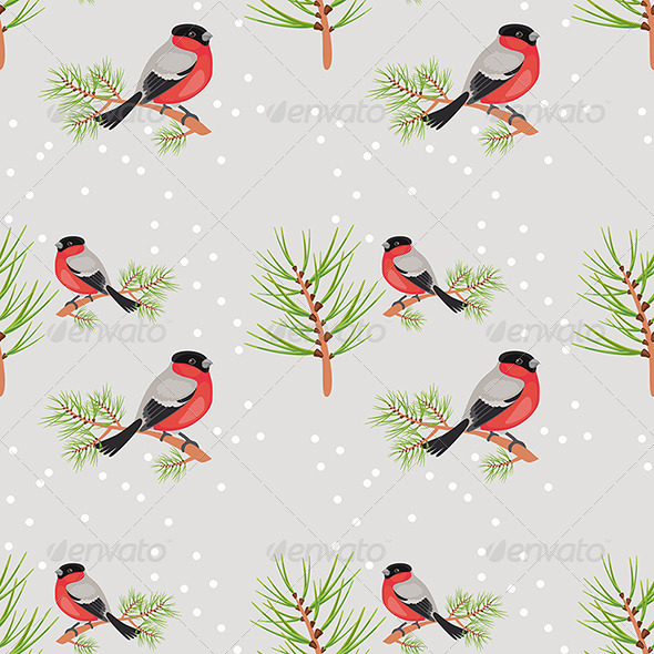 GraphicRiver Bullfinch Seamless Background 6671483