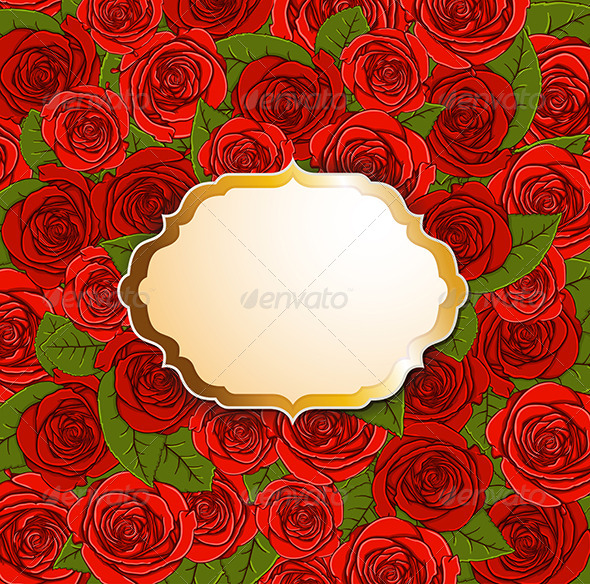 GraphicRiver Background with Red Roses and Label 6671506