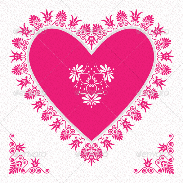 Valentine's Day Card with Flower Hearts - Valentines Seasons/Holidays