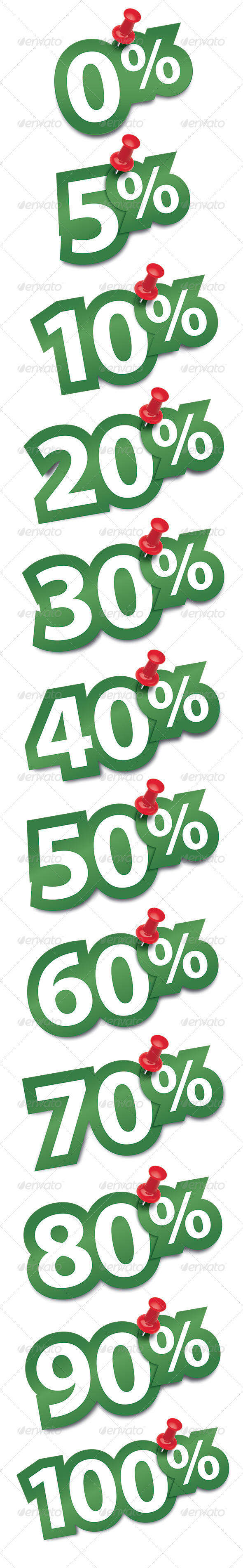 GraphicRiver Percent Sticker Fixed by a Thumbtack 6671586