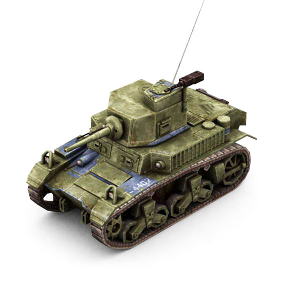 Military Modern War Light Tank (Blue) - 3DOcean Item for Sale