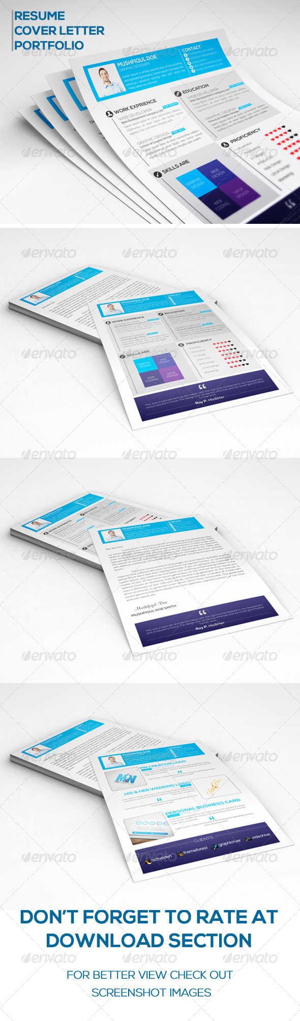 GraphicRiver Simple Resume with Cover Letter and Portfolio 6672096