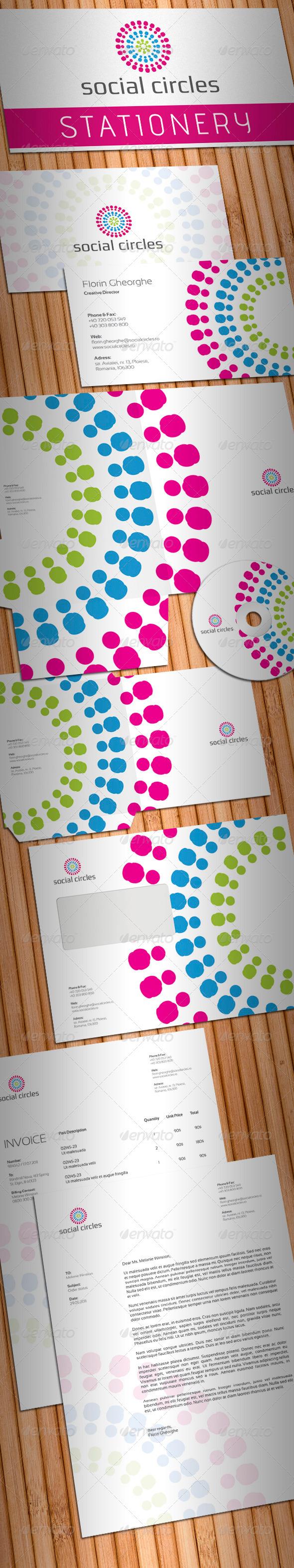 GraphicRiver Social Circles Stationery 698538