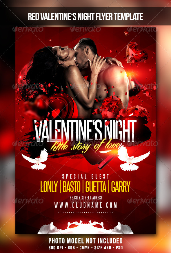 GraphicRiver Red Valentines Night Flyer 6672460