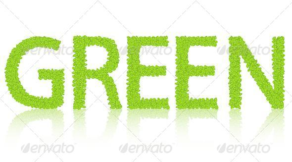 GraphicRiver The Word Green Isolated 6515718