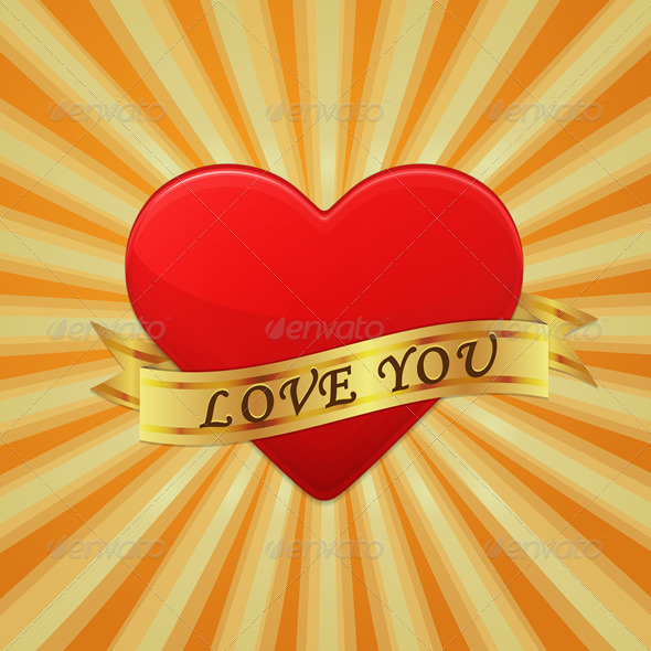GraphicRiver Heart with Ribbon and Phrase Love You 6673107