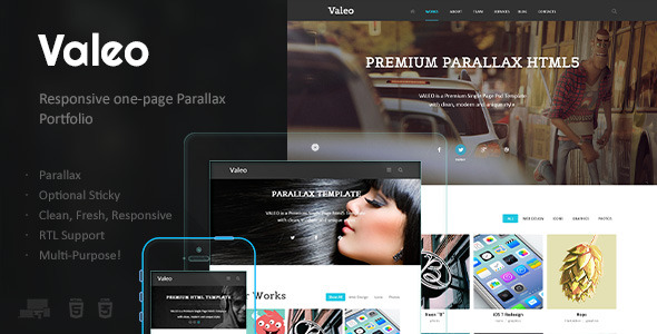 Valeo - OnePage Parallax Responsive HTML5 Template