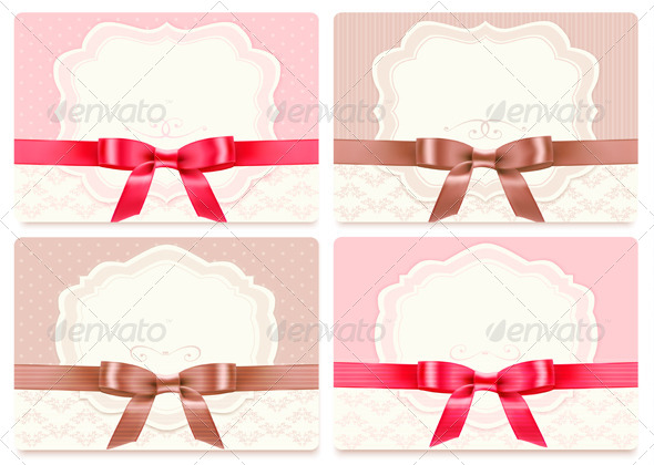 GraphicRiver Collection of Gift Cards with Ribbons Background 6674413