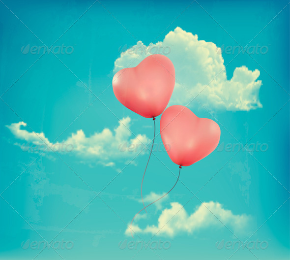 GraphicRiver Valentine Heart-Shaped Baloons in a Blue Sky 6674505