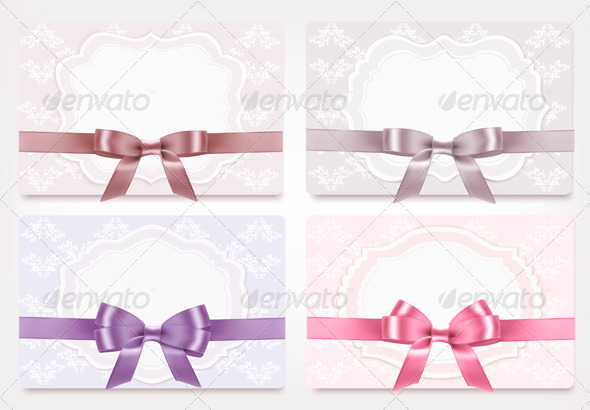 Collection of Gift Cards with Ribbons and Bows