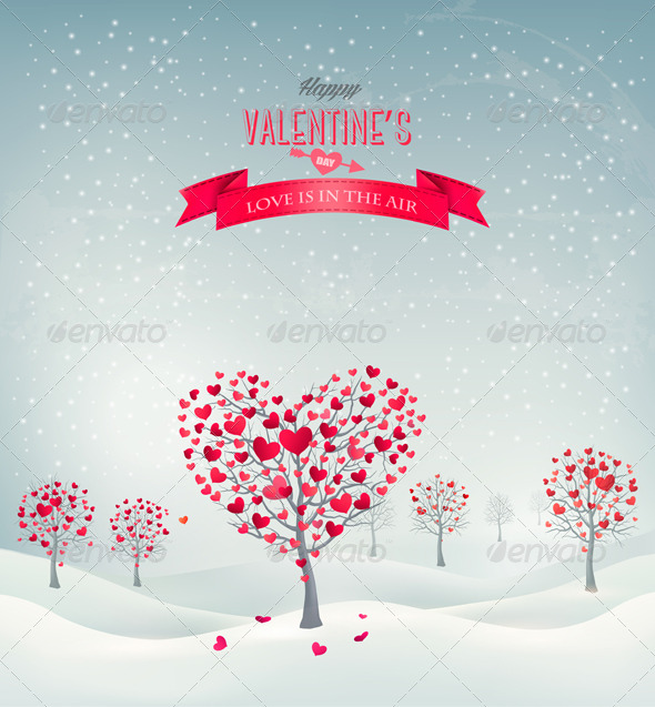 GraphicRiver Valentine Trees with Heart-Shaped Leaves 6674510