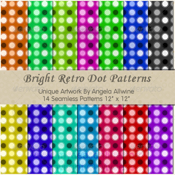 GraphicRiver Bright Retro Dots Pattern Set 6674519