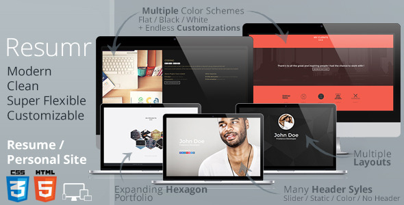 ThemeForest Resumr Modern Clean and Flexible Resume 6674807