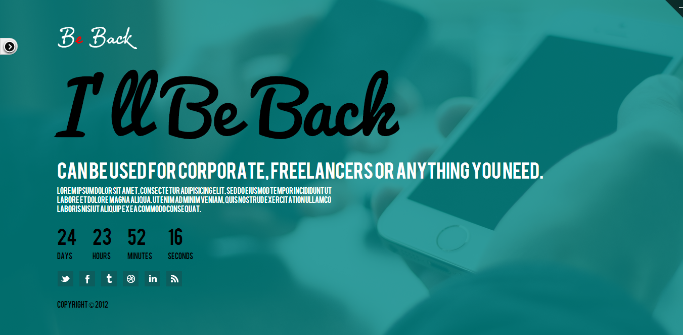 Be Back - Responsive Under Construction Theme