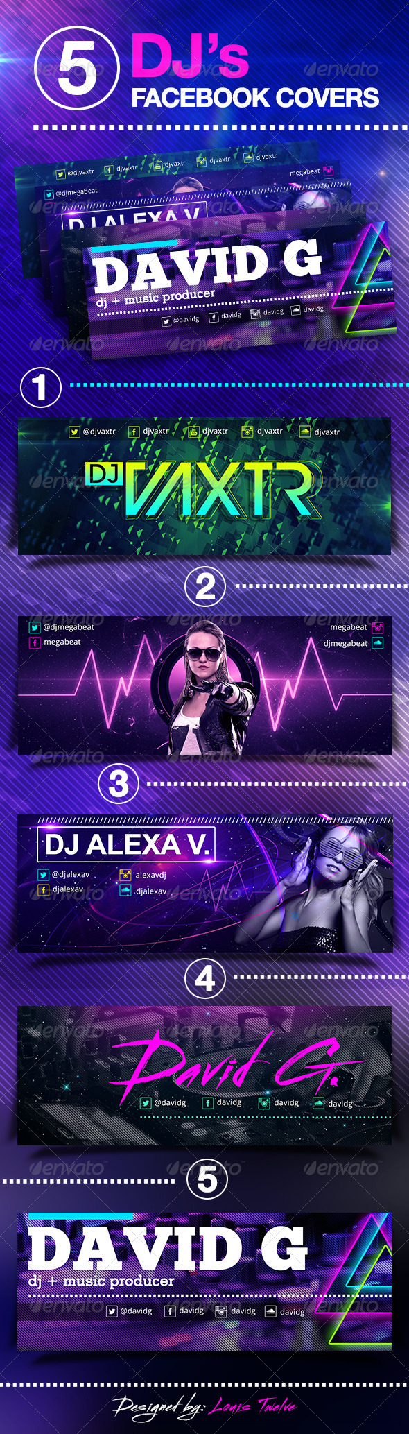 GraphicRiver 5 Dj s Facebook Covers 6675136