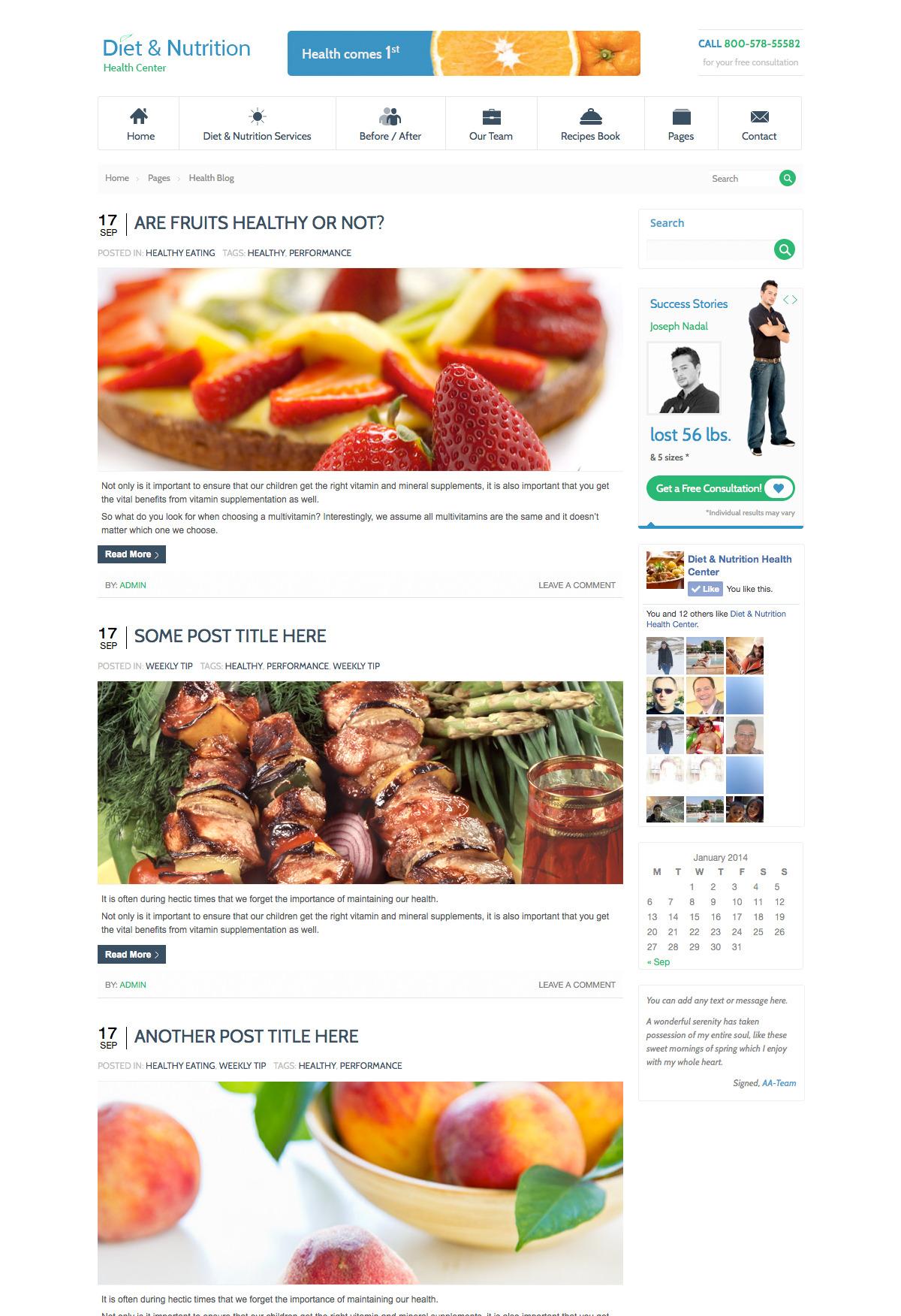 Diet & Nutrition Health Center-Wordpress Theme