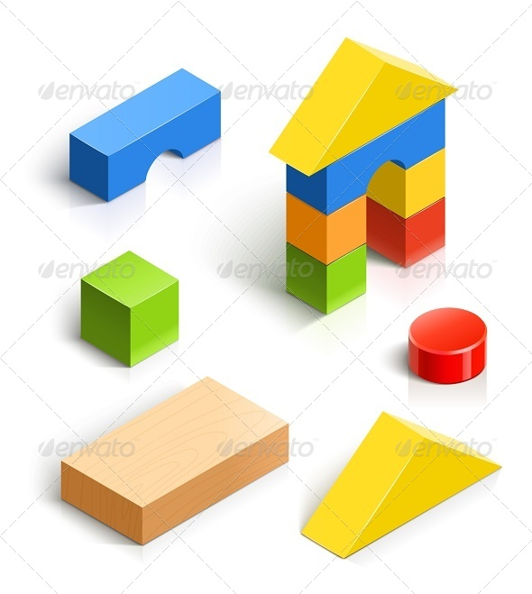 GraphicRiver Brick House Wooden Toy Set 6675984