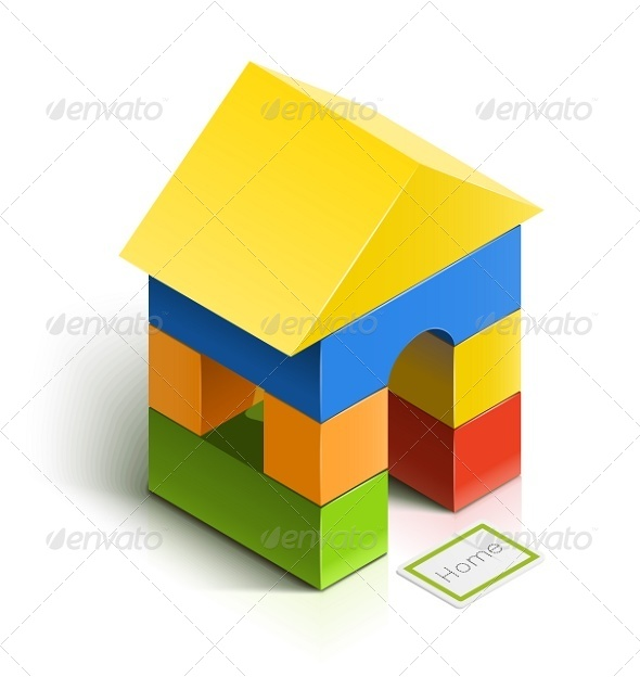 GraphicRiver Brick House Wooden Toy 6675986