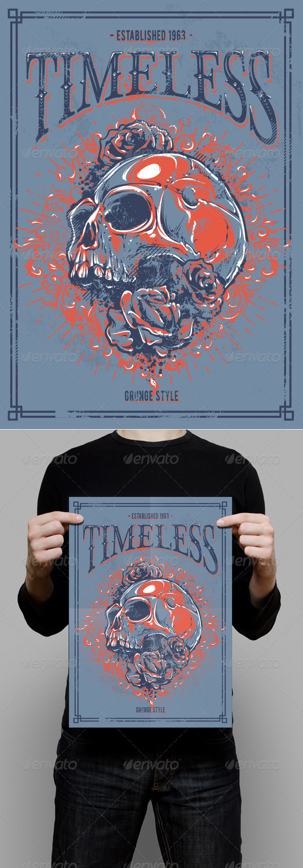 GraphicRiver Grunge Poster with Skull 6676056