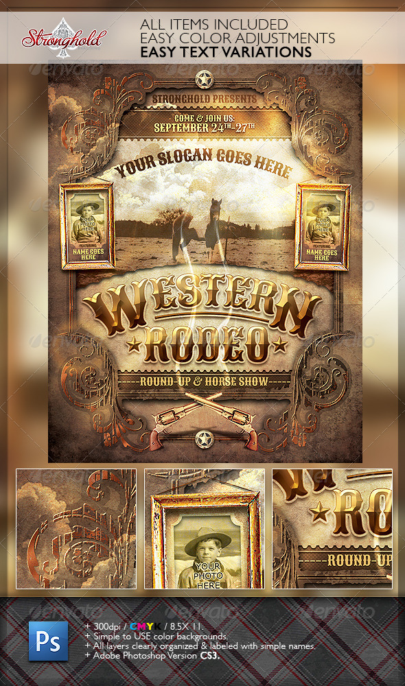 GraphicRiver Wild West Rodeo Event Flyer Template 6676105