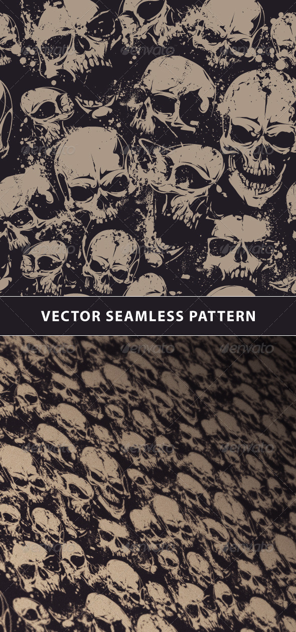 GraphicRiver Seamless Pattern with Grunge Skulls 6676120