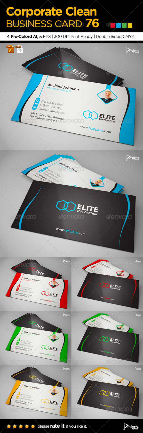 GraphicRiver Corporate Clean Business Card 76 6677337