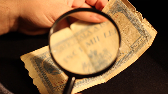Specialist Inspects Old Banknote