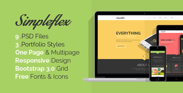 ThemeForest Simpleflex OnePage & MultiPage Flat PSD template 6661169