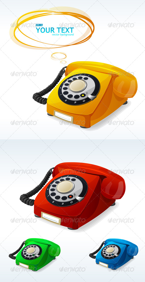 GraphicRiver Old Phones Color Collection 6677702
