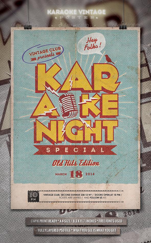 GraphicRiver Karaoke Vintage Poster Flyer 6674511