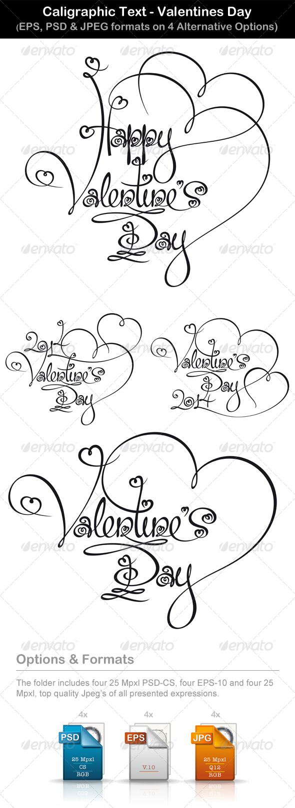 GraphicRiver Caligraphic Text Valentines Day 6677820