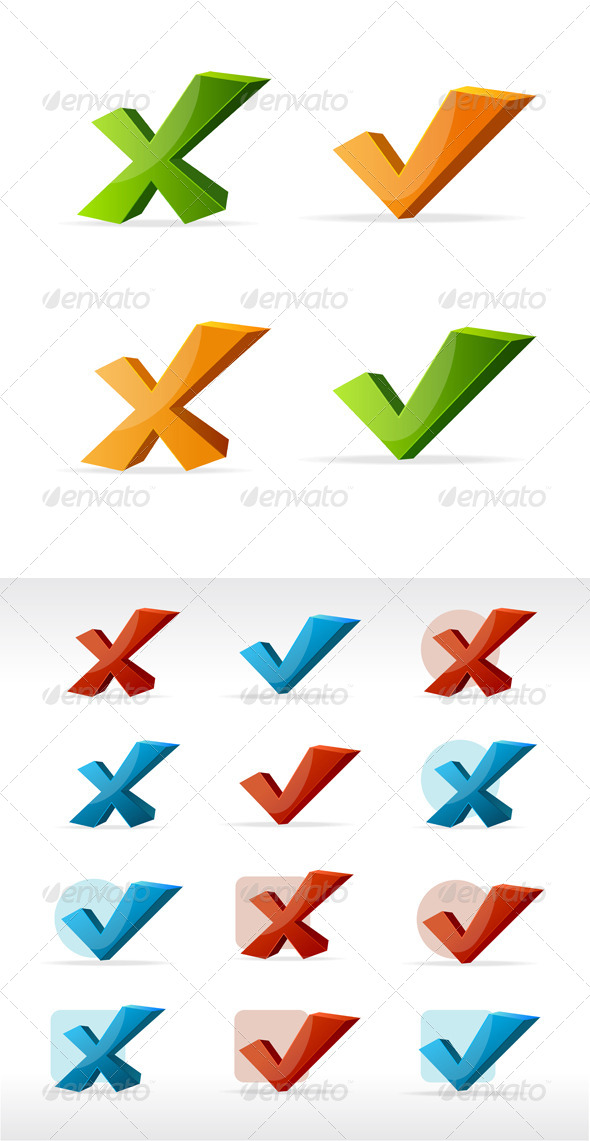 GraphicRiver Check Mark Yes No Color Set 6677988
