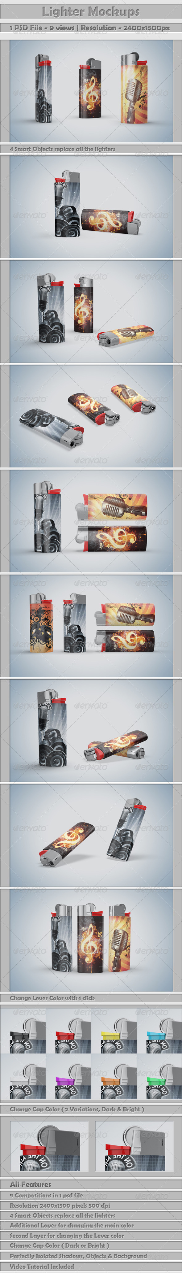 GraphicRiver Lighters Mockup 6678378