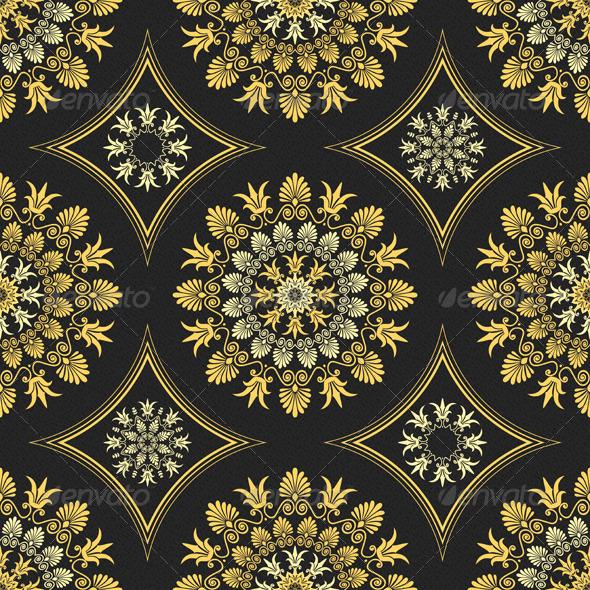 GraphicRiver Seamless Elegant Lace Gold Ornament 6678666